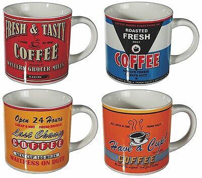 Kaffeebecher Becher 4 Stück Tassen »Vintage Coffee« Cafe Kaffee Cappucino NEU