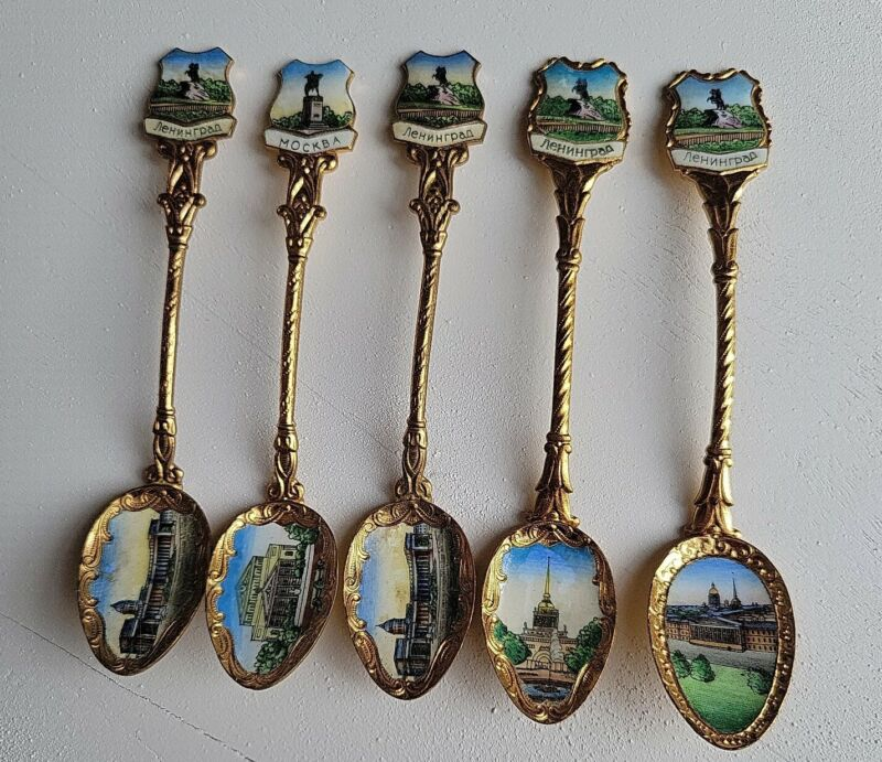 ANTIQUE 1987 SOUVENIR SPOON GOLD PLATED FROM SOVIET UNION ( 5 PIECES ).