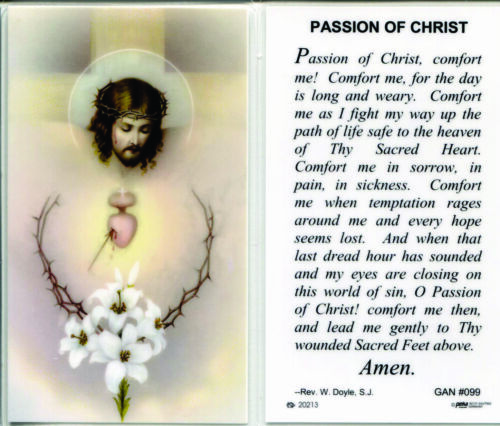 Passion of Christ Comfort Me for the Day is Long and Weary Laminated Prayer Card