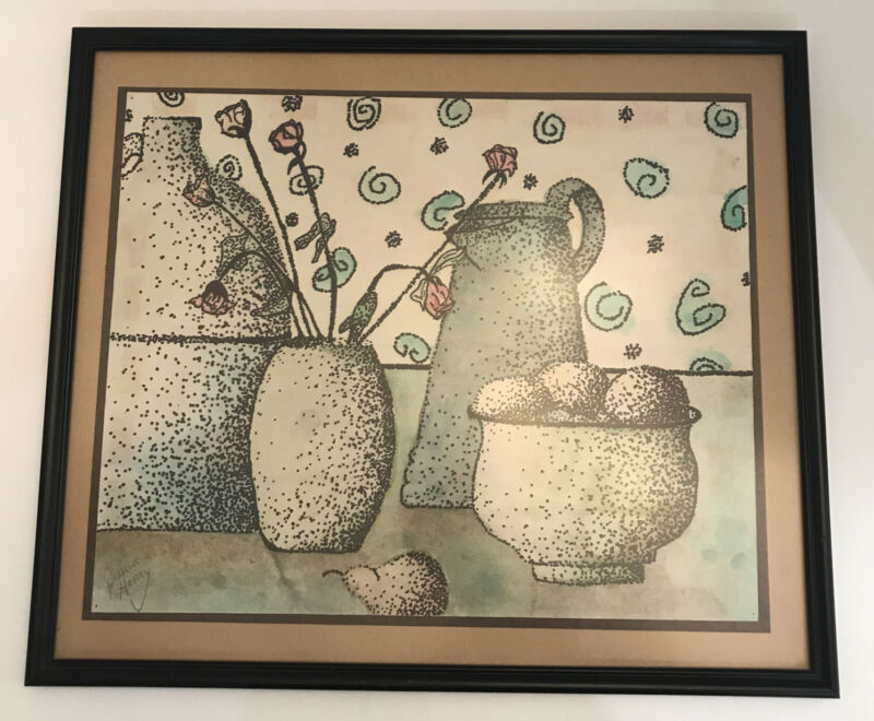 """Ink Wash Drawing Fruit Bowl Still Life Painting Coffee pot Signed Framed 16x12"""""""