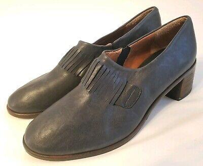 Anthropologie Kupuri Edith Loafer Block Heels Navy Blue Leather Size 38 New