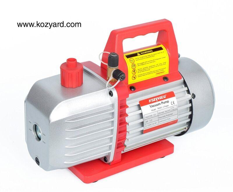 Kozyvacu 5CFM 2-Stage Rotary Vane Vacuum Pump (5.0CFM, 40Micron, 1/2HP) for...