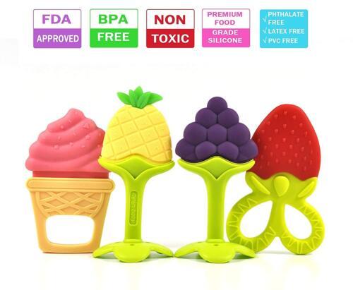 Olele Baby Teething Toys - Soft Sensory BPA Free Natural Silicone Teethers