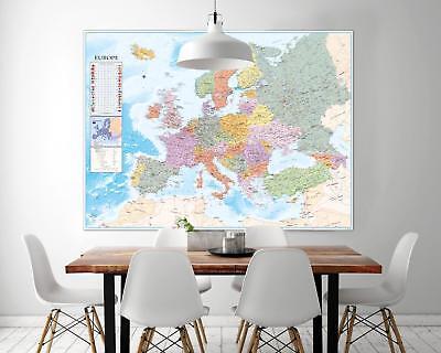 ster - Europa Map Landkarte mit vielen Infos - 135 x 100 cm (Karte Dekorationen)