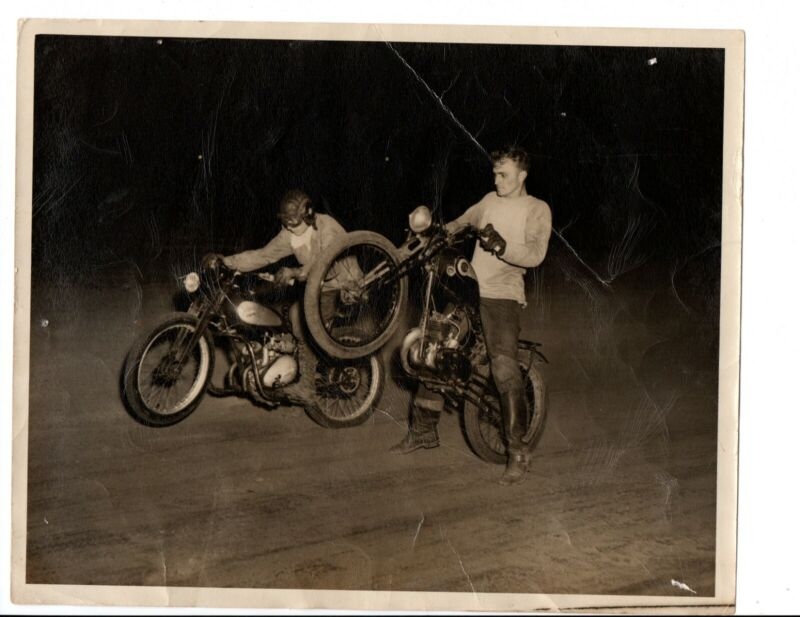 1948 ORIGINAL Photo Shreveport Bill Rousell FAMOUS JAMES Motorcycle Tom Cambre