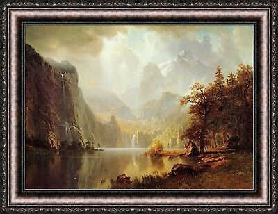 - Albert Bierstadt In the Mountains Framed Canvas Giclee Print 35.5