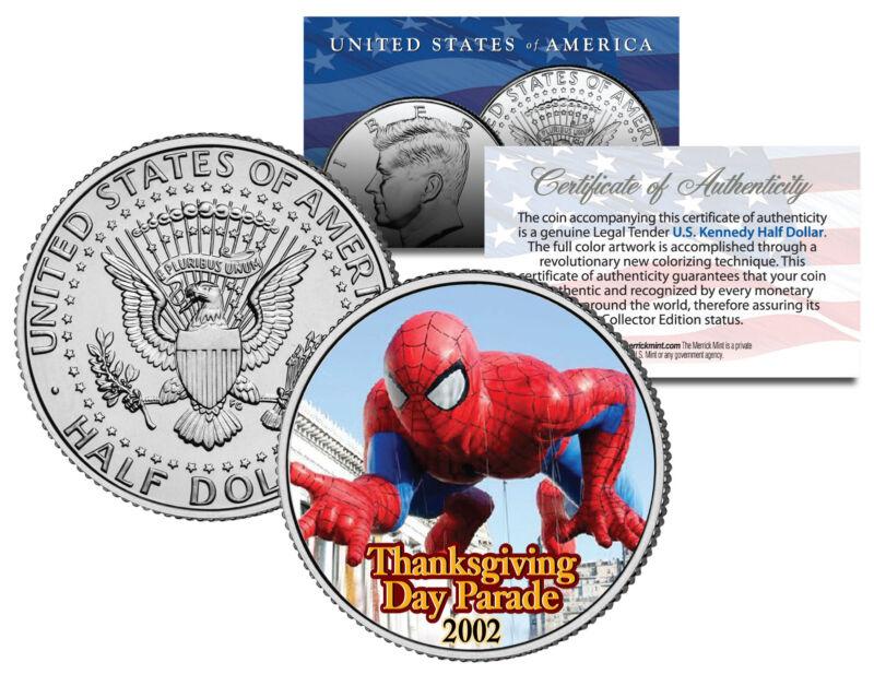 SPIDER-MAN 2002 BALLOON NYC Thanksgiving Day Parade Genuine JFK U.S. Half Dollar