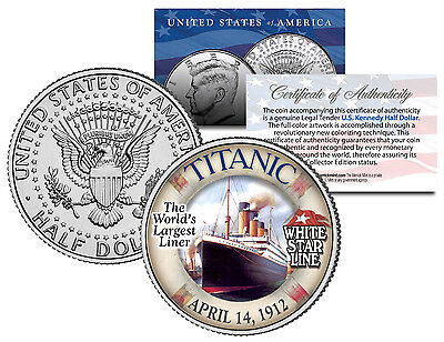 1912 Titanic   Worlds Largest Ship   U S  Mint Kennedy Half Dollar Coin With Coa