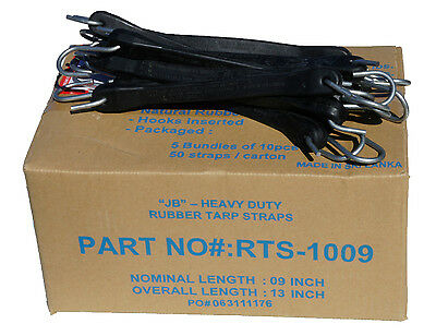 """10 Pack 9"""" JB Heavy Duty Natural Rubber Tarp Straps TARP TIE DOWN Bungee Cords"""
