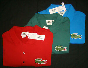lacoste big alligator polo shirt tall red blue green 9r