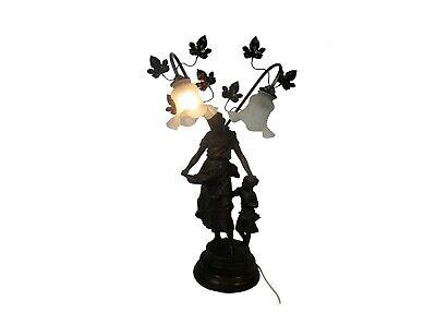 Gorgeous Floor Desk Lamp 2 Lights Statue Mother and Child Spelter? Bronze?