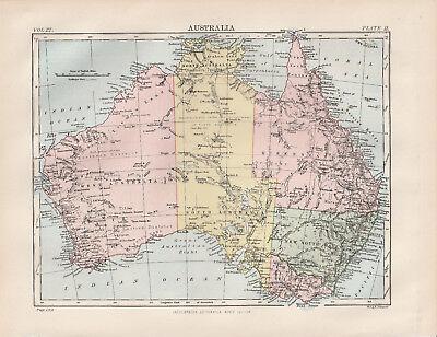 Australia Original colour map 1875 W & A K Johnston