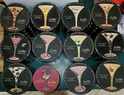 Lolita Hand Painted Martini Glasses 10 oz (12) and Wine Glass 15 oz (1)
