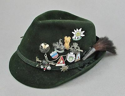 Vintage German Bavarian Green Felt Alpine Hat w/ Boar Brush & Oktoberfest Pins