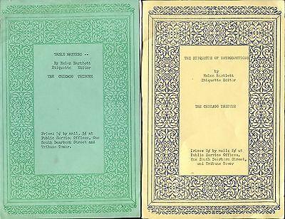 THE CHICAGO TRIBUNE - HELEN BARLETT - ETIQUETTE EDITOR - 2 ADVICE ARTICLES