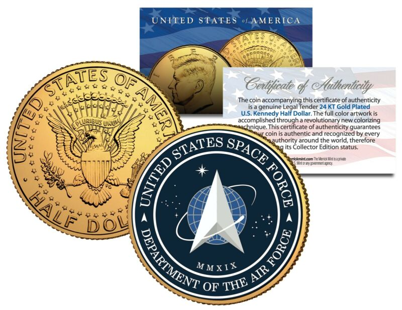 United States Space Force USSF 6th Branch 24K Gold Clad JFK Half Dollar US Coin