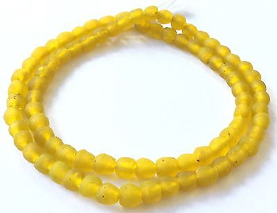 Handmade Krobo Ghana Translucent Lemon yellow African Recycled glass Beads