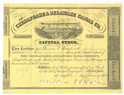 Chesapeake & Delaware Canal Co. Stock Certificate 1912