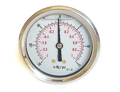 - Compound Pressure Vacuum Gauge Glycerine Filled 63mm Back -1+1 Bar 30*Hg+15 PSI