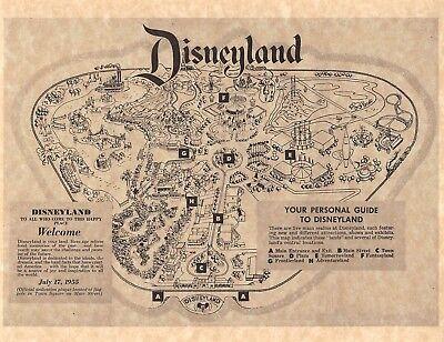 Vintage Style 1955 Disneyland Park Brochure Map > Poster/Print Replica