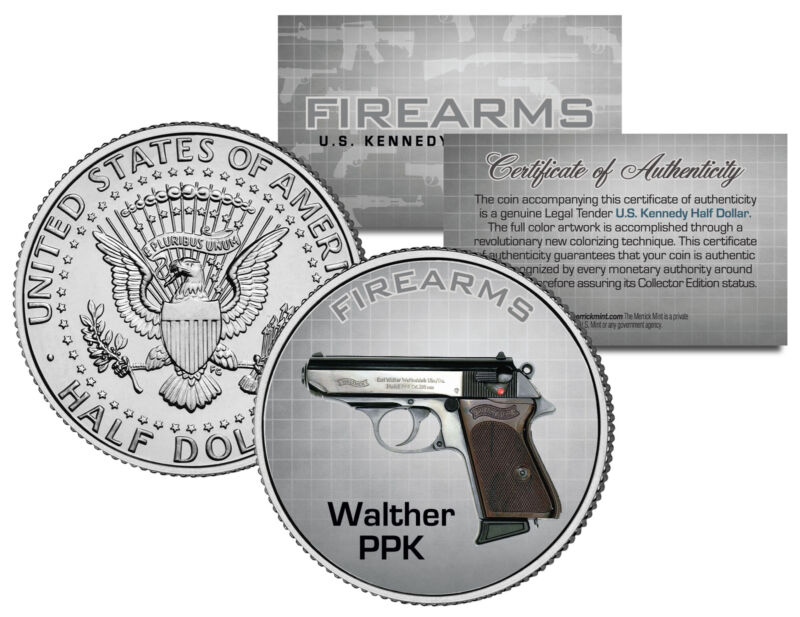 WALTHER PPK Gun Firearm Weapon JFK Kennedy Half Dollar US Colorized Coin