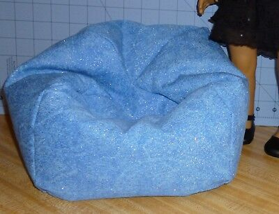 Denim Sparkle Bean Bag Chair made to fit American Girl dolls