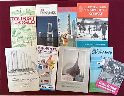 Lot of 9 Vintage  Oslo Norway Sweden Viking Museum Travel Brochures Books 1972