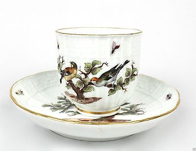 Antique Meissen Porcelain Ornithological Cup & Saucer  - bird coffee tea PC