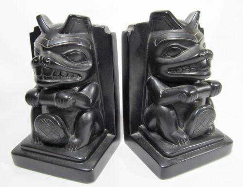 RARE Haida Beaver Totem Bookends Set of 2 Pacific Northwest Native Totem Art
