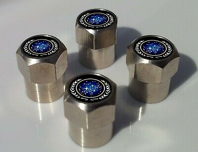 STAR TREK UNITED FEDERATION OF PLANETS TYRE VALVE CAPS FOR TIRE WHEEL