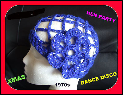 NEW SPARKLY ROYAL BLUE CROCHET HAT HEN PARTY 1970s DISCO DANCE fancy dress abba
