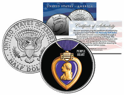 (PURPLE HEART MEDAL Colorized JFK Kennedy Half Dollar Coin Collectible MILITARY)