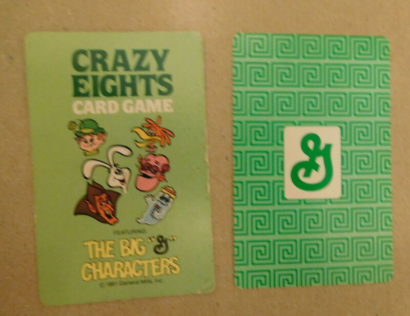 vintage General Mills 1981 Crazy Eight Card Game Lucky  Kaboom Crazy Cow Rabbit