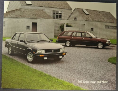 1985-1986 Peugeot 505 Turbo Sedan Wagon Sales Brochure Sheet Excellent Original