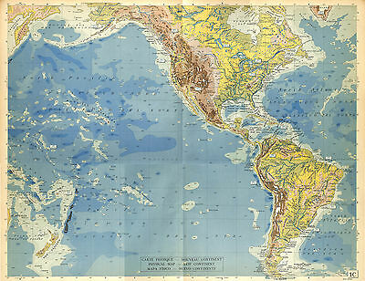 Big Size Map Card Atlas 1950: South North America Pacific Ocean