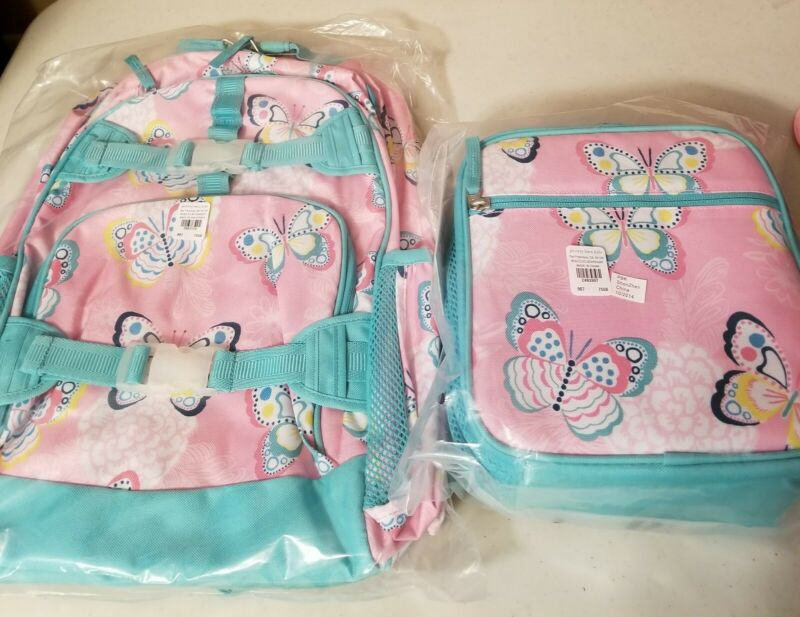 NWT Pottery Barn Kids Large Backpack Butterflies Classic Lunchbox