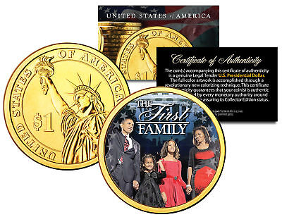 President Barack Obama   First Family   Presidential  1 Dollar Coin Gold Plated