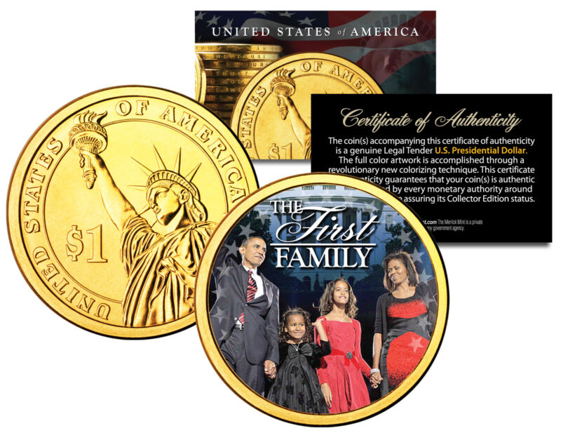 President BARACK OBAMA * First Family * Presidential $1 Dollar Coin Gold Plated