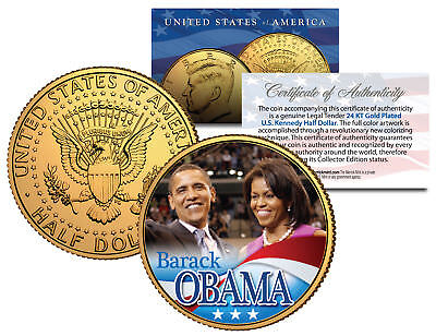 BARACK & MICHELLE OBAMA 2008 JFK Kennedy Half Dollar U.S. Coin 24K Gold Plated for sale  Shipping to Canada