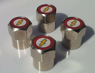 THE FLASH LOGO SUPERHERO TYRE VALVE CAPS FOR TIRE WHEEL