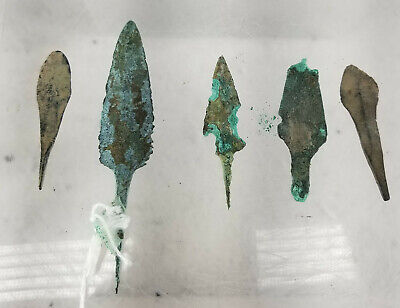 Antique Antiquity Group 5 Arrowheads Points Greek Roman Hellenistic
