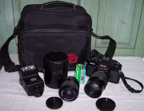 Fuji STX-2 35mm Film Camera w/Accessories, Bag Lenses Nice