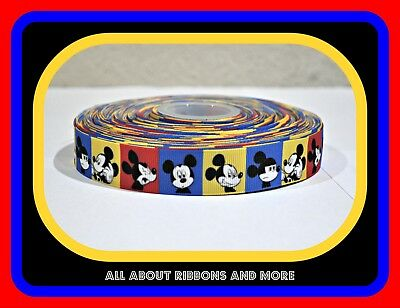 7/8 INCH MICKEY MOUSE BLUE, RED AND YELLOW SQUARES ON GROSGRAIN RIBBON- 1 - Blue And Yellow Ribbon