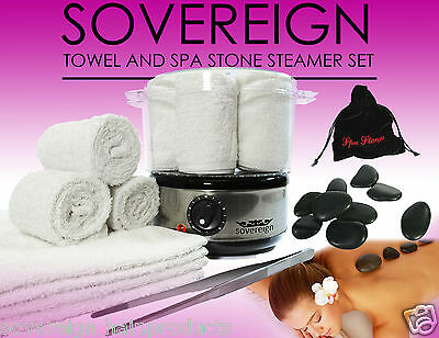 Sovereign Spa Stones & Hot Towel Steamer Set. Spa Stone Heater & Towel Set