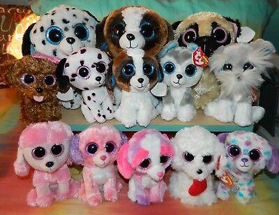 "Lot of 12 TY BEANIE BOOS Puppy Dogs NWT 6"" 9"" FETCH Princess DARLING Georgia ++"
