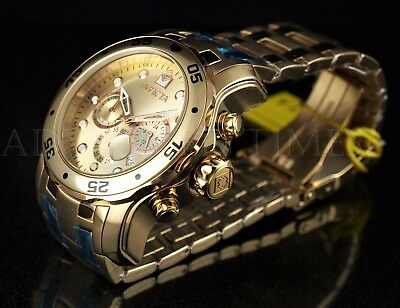 Invicta 80071 Pro Diver Scuba All Gold Tone Chronograph Stainless Steel Watch