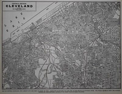 Vintage 1940 World War WWII Era Atlas City Map Cleveland, Ohio, OH Black & White