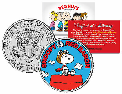 Peanuts SNOOPY vs. RED BARON JFK Half Dollar US Colorized Coin *Licensed* - Snoopy Peanuts