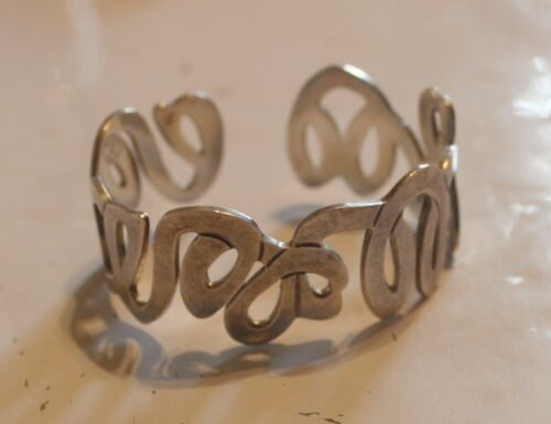 Citlal Castillo Mexican Sterling Silver Modernist Cuff Bracelet Lovely 45.5G