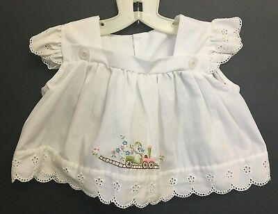 Vintage Girls Infant Embroidered Dress Kitten On Railroad Train & Flower Eyelets Flower Baby Train